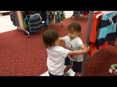 Baby Fights his Reflection in the Mirror