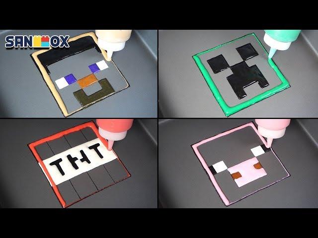 Minecraft Pancake art - Creeper, TNT, Steve, Pig