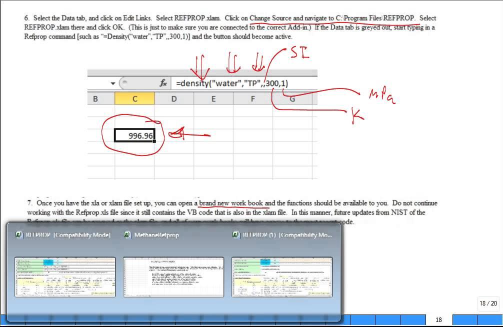 REFPROP Excel AddIn