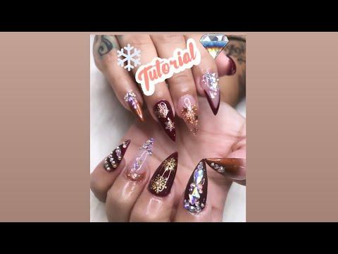Stiletto nails with christmas design tutorial (first nail vlog) thumbnail