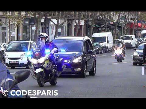 Convoi de Président Hollande GSPR //  Motorcade French President + Prime Minister