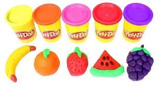🌈 LOS COLORES 🌈 Aprendemos las frutas con Play Doh de colores | Videos en español para niños