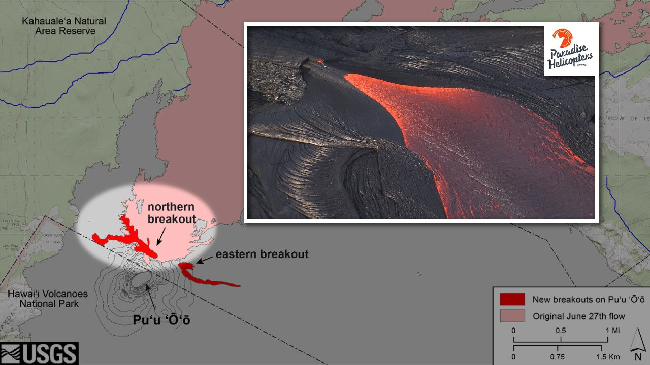 Hawaii Map Lava.Overflight Maps New Lava Flows In Hawaii May 26 2016 Youtube