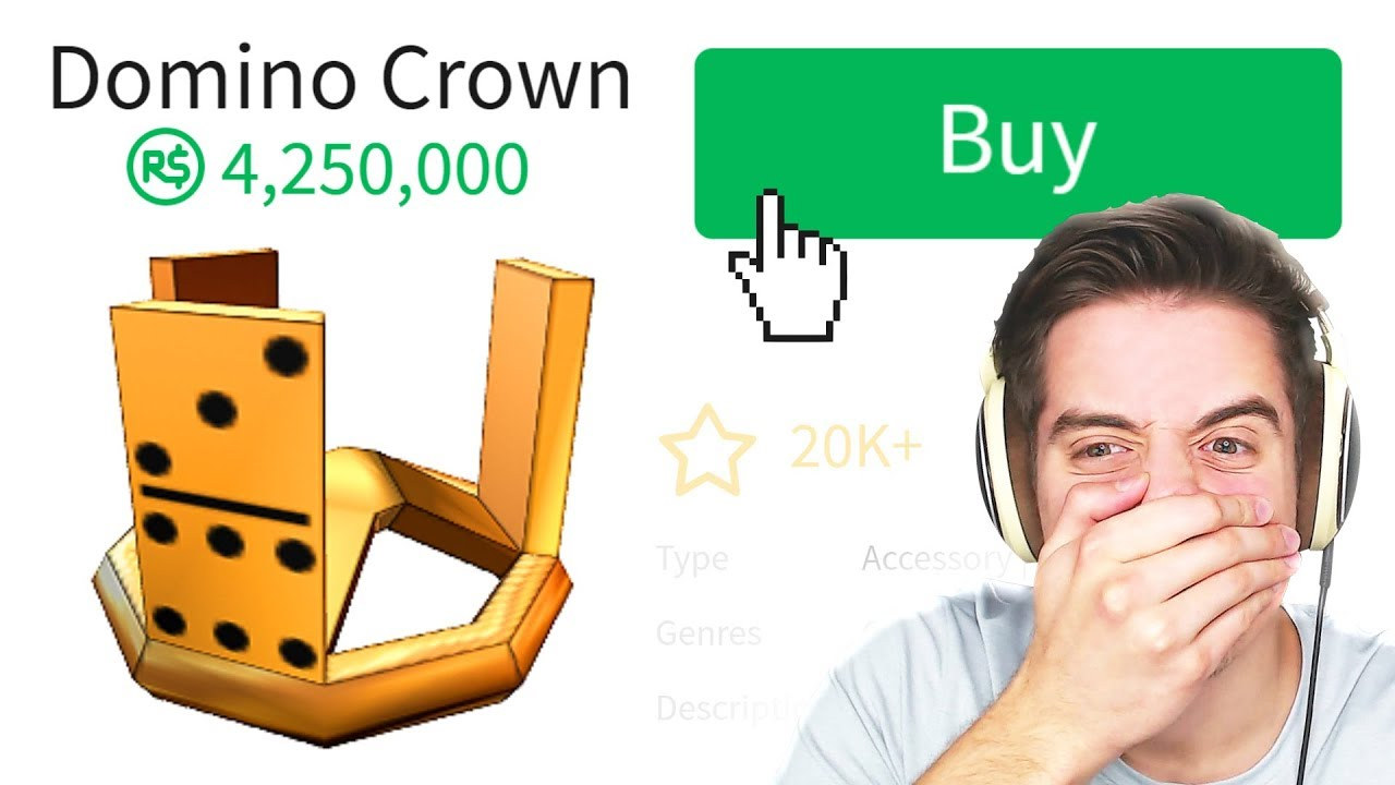 Buying The 4 Million Robux Gold Domino Crown In Roblox Youtube