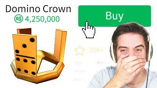 BUYING THE 4 MILLION ROBUX GOLD DOMINO CROWN IN ROBLOX