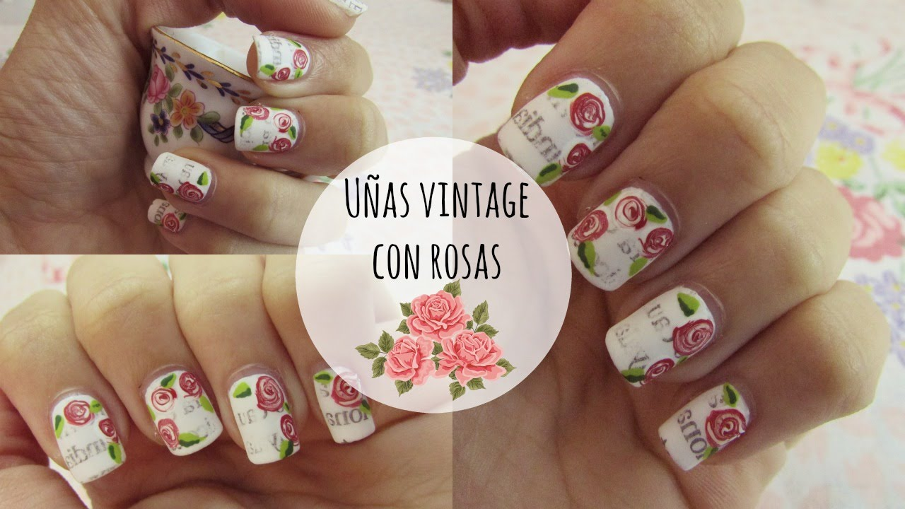 U as vintage con rosas celhel z youtube for Decoracion de unas con esmalte