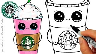 How to Draw a Starbucks Frappuccino Cute step by step Cartoon Drink