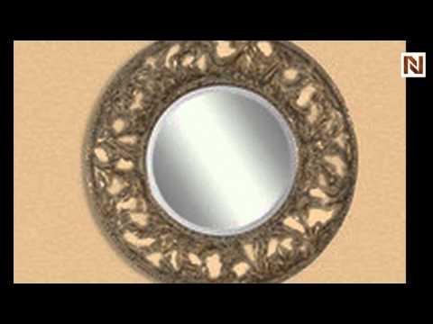 Antique Gold Leaf Black Rub Distressing Round Mirrors By Bassett Mirror M3187b