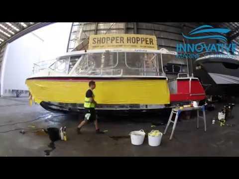 Vinyl Wrap and Branding of 9 9m Aluminium Catamaran at Sydney City Marine