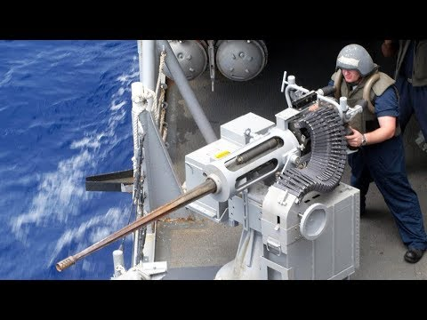 Powerful & Devastating Mk 38 Machine Gun  M242 Bushmaster   US Navy Sailors  Fire
