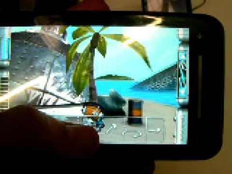 Toshiba TG01 smartphone running Electopia game