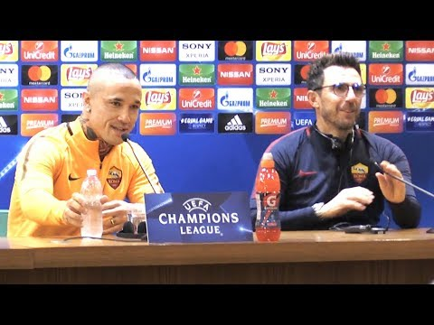 Eusebio Di Francesco & Radja Nainggolan Pre-Match Press Conference - Roma v Liverpool - Semi-Final