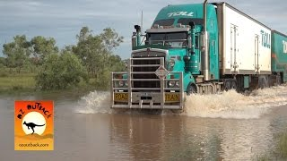Repeat youtube video Extreme Trucker #1 - Massive Road trains trucks crossing flooded river in the Australian outback