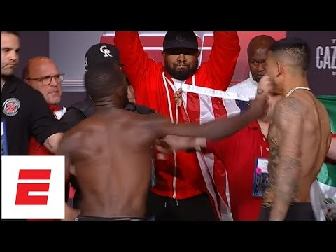 Terence Crawford throws punch at José Benavidez Jr. during weigh-in | ESPN