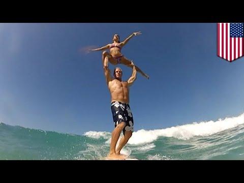 2人乗りサーフィンで神業連発 タンデムサーフィン