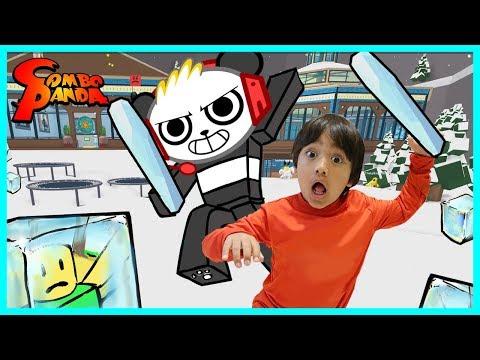 Ryan ToysReview VS. Combo Panda on Roblox! Ice Breaker Epic Game!