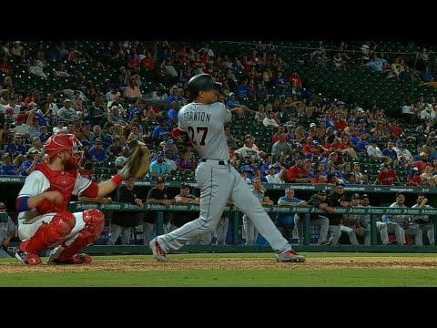 Stanton belts 33rd homer, flips bat