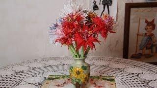 Как сделать цветы Астры из бумажных салфеток пошагово(Как сделать цветы Астры из бумажных салфеток - красивые цветы своими руками из бумаги. Смотрите видео как..., 2014-05-31T20:17:21.000Z)