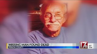 Missing man found dead in Person County