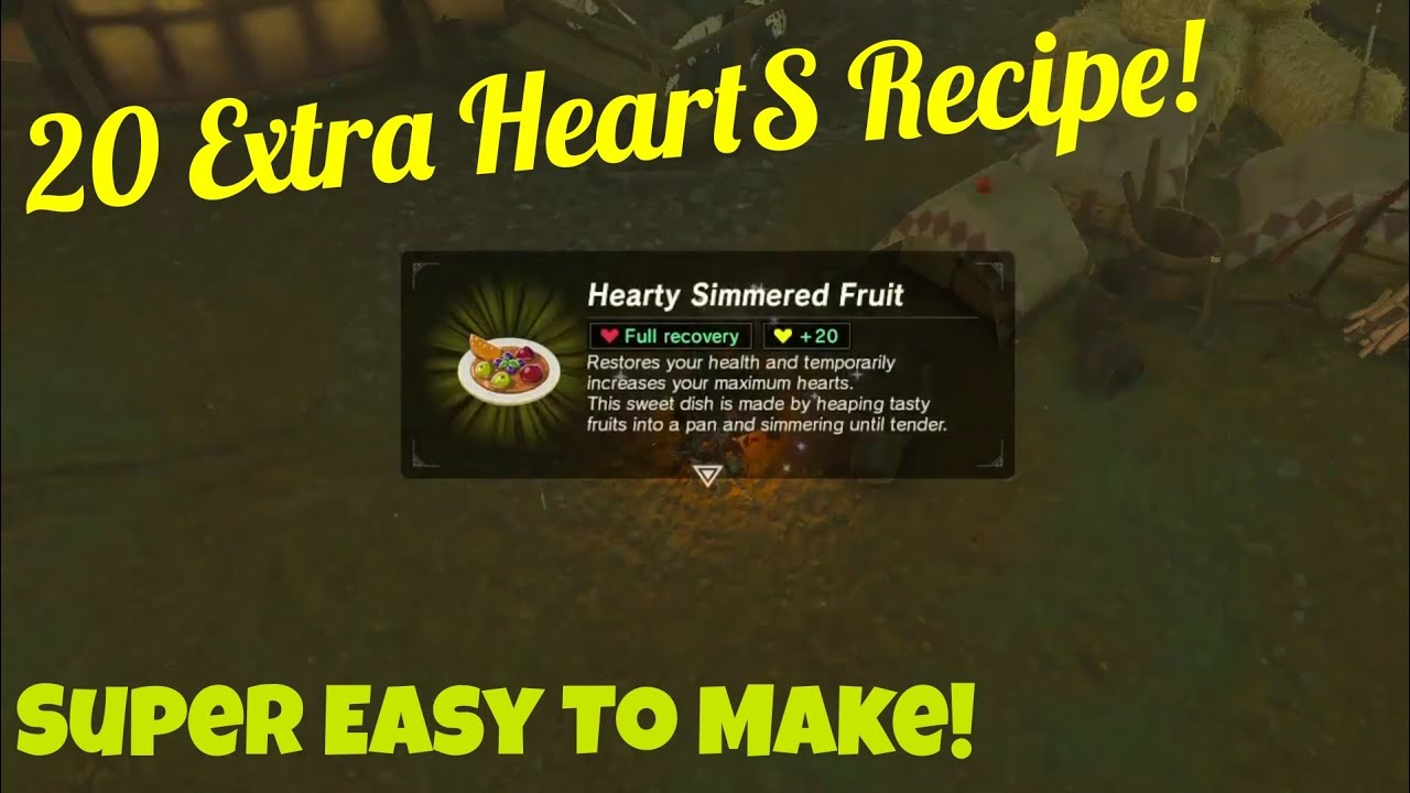 Best Heart Recipe To Cook Before Boss (20 Extra Hearts) | Legend Of Zelda :  Breath Of The Wild