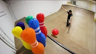 INFLATABLE BOWLING TRICK SHOTS!