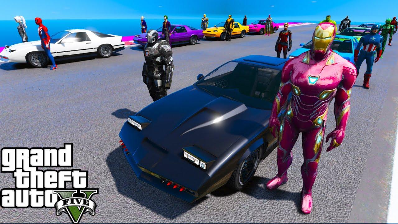 Carros Loucas e Coleção de Super-Heróis! Cars with Turbine and Spiderman Сhallenge Ruiner 2000 GTA 5