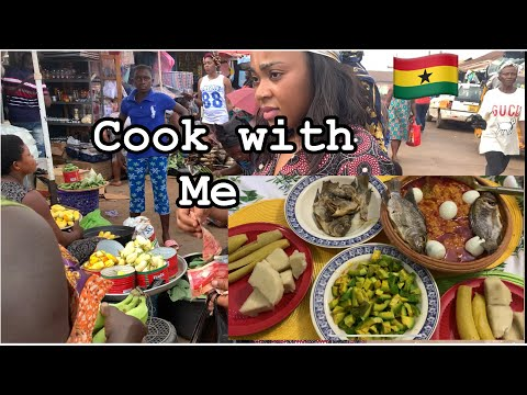 Real PRICES of food in ACCRA vrs SUNYANI MARKET|| COOK with me Plantain with Garden eggs stew