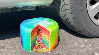 Crushing Crunchy & Soft Things by Car! - EXPERIMENT: RAINBOW CAKE VS CAR