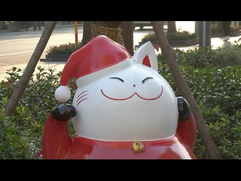 100 Fortune Cat Statues Placed in Shanghai to Welcome New Year