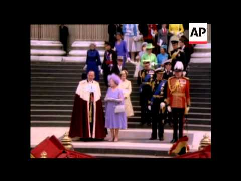 Queen Mother's 80th Birthday Ceremony At St Paul's Cathedral - No Sound - 1980