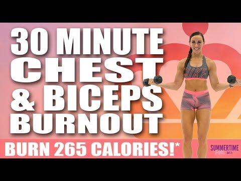 30 Minute Chest And Biceps Burnout Workout 🔥Burn 265 Calories!* 🔥Sydney Cummings