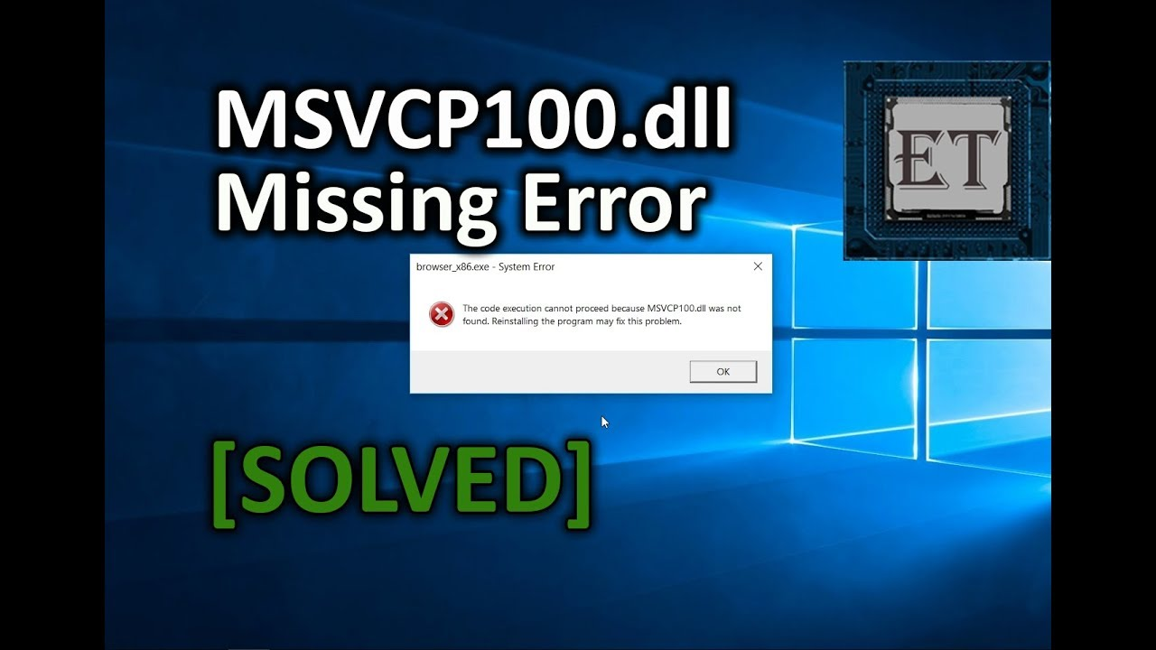 msvcp100.dll is missing from your computer windows 8