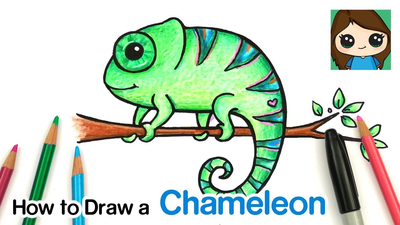 How To Draw A Chameleon Easy Youtube