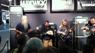 Lee Sklar Steve Bailey Jonas Hellborg playing Red Baron on Warwick Booth @Musikmesse 2011