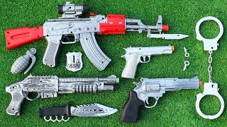 Realistic Box of Toy Guns | Many Toy Guns Toys Military Equipments from the Box - Shooting Toy Guns