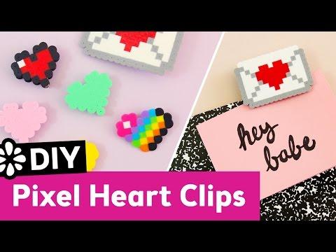 Cute DIY Pixel Heart Clips | Valentine's Day | Sea Lemon