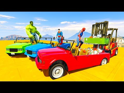 COLORED SUPERHEROES on FUN CARS with Mickey Mouse Surprise eggs transportation