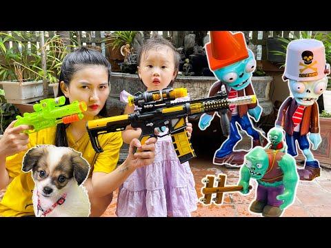 Chị em Changcady và trò chơi săn zombie, khủng long trong sân - Part 282