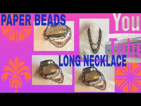 #jewellerydesign#longnacklacepaperbeads#artandcraft  How to make long paper beads necklace at home