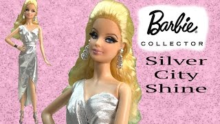 Barbie Collectors City Shine Silver Dress Doll Mattel Black Label Unboxing Toy Review