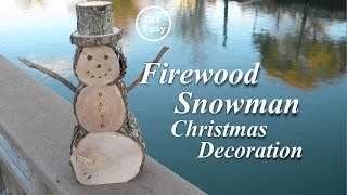 How to make a DIY Firewood Snowman Christmas Decoration. These snowmen can be made in a variety of sizes depending on the