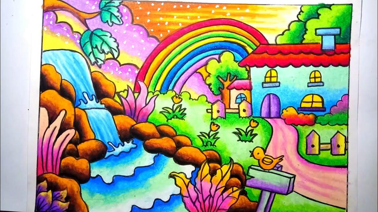Mewarnai Gradasi Dengan Crayon Pemandangan Alam Rumah Dan Air Terjun Drawing Scenery Of House