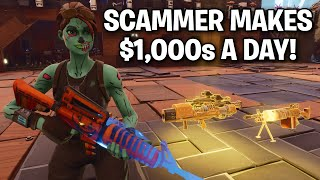 kid makes $1,000's a DAY from Scamming! 😔👎 (Scammer Get Scammed) Fortnite Save The World