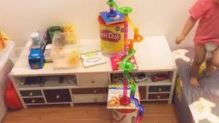 玩玩具|彈珠軌道也可以這樣蓋, 又長又高讓寶寶跟著爬上爬下| Long and High Marble Run Race for Baby