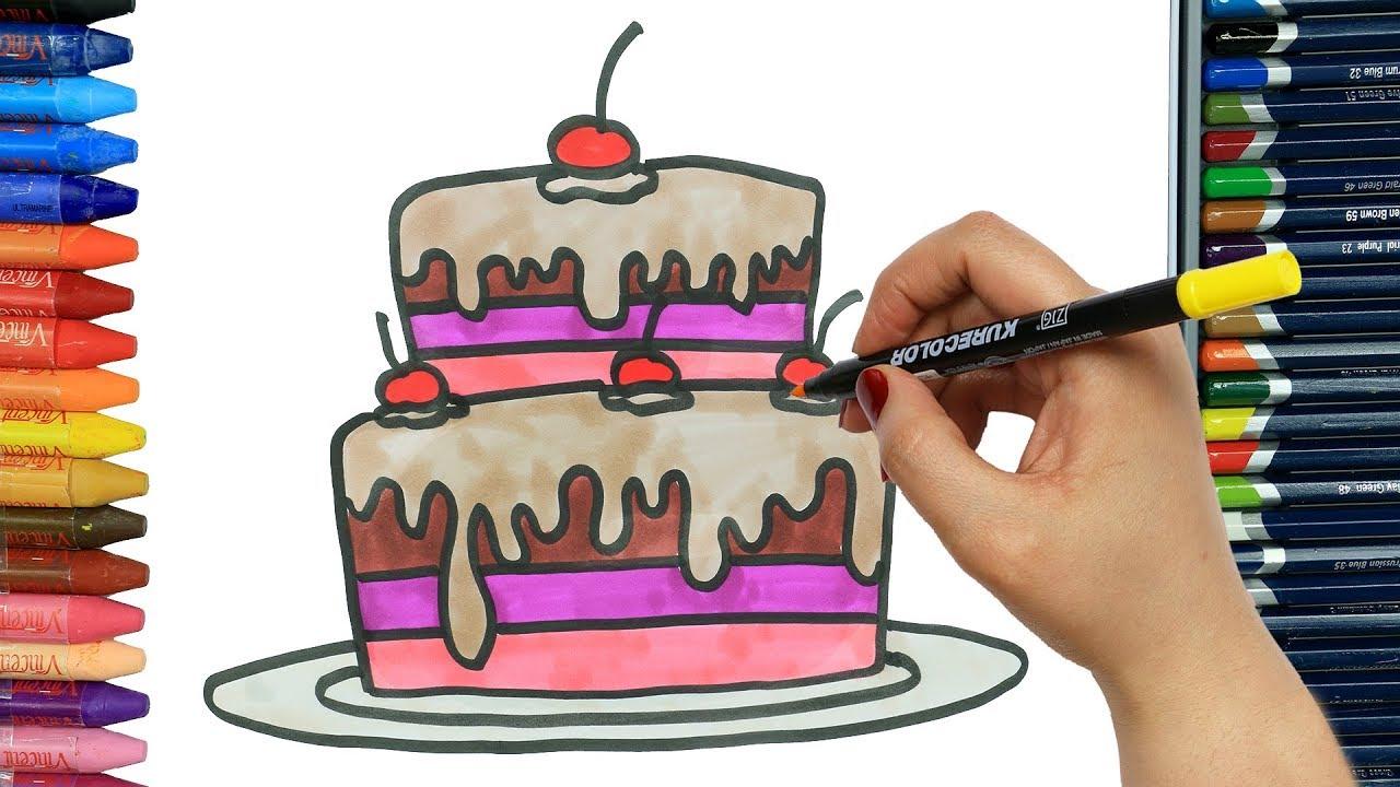 Wie Zeichnet Man Kuchen Mit Zwei Schichten Ausmalen Kinder Malen