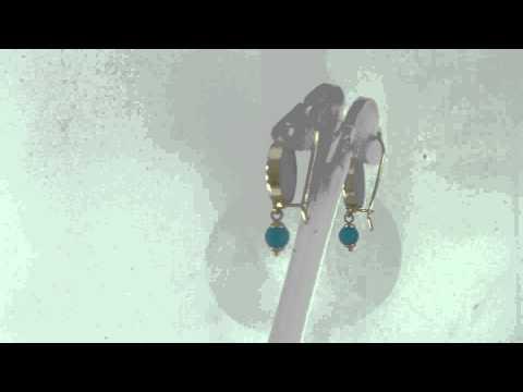 Estate 14k Gold 15mm Glass Cameo & Sleeping Beauty Turquoise Earrings