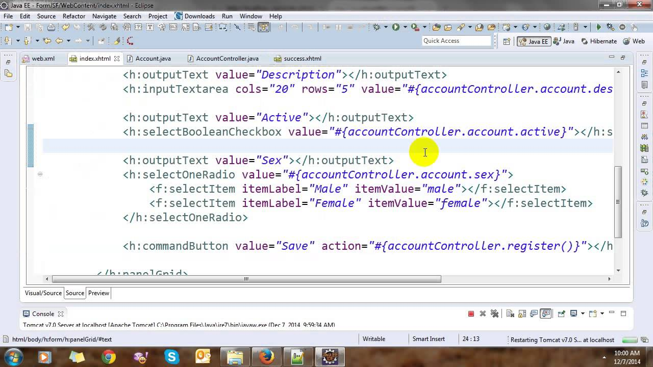 How to write custom tags in jsf