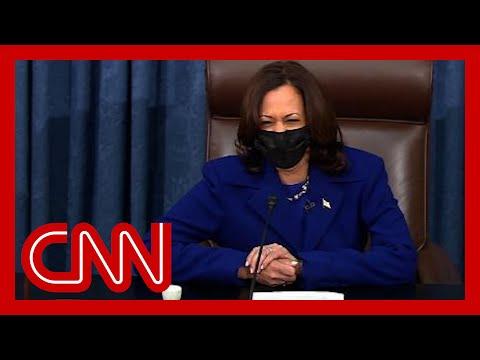 Vice President Kamala Harris swears in her replacement