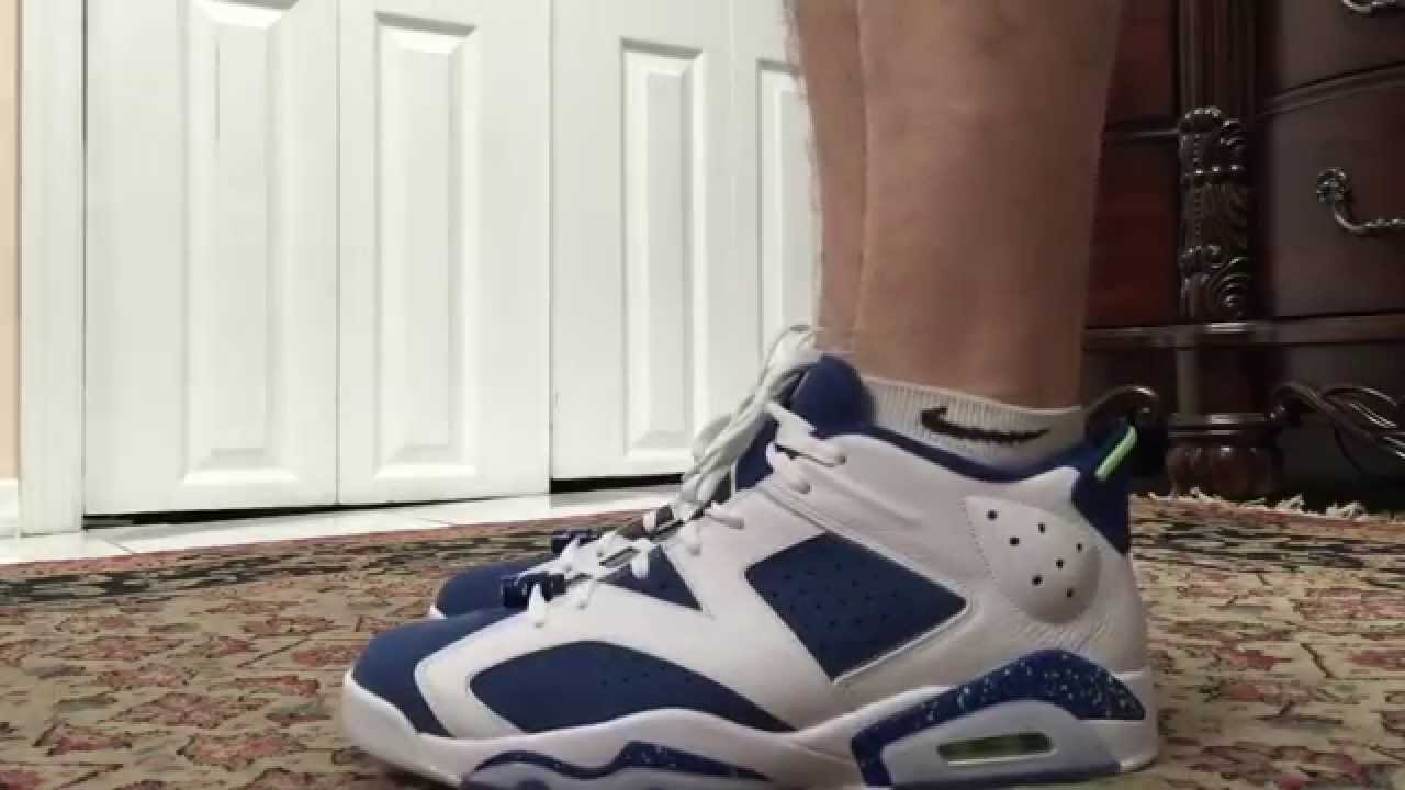 11e441c4cc7f Air Jordan 6 VI Low Ghost Green Seahawks On Foot - YouTube