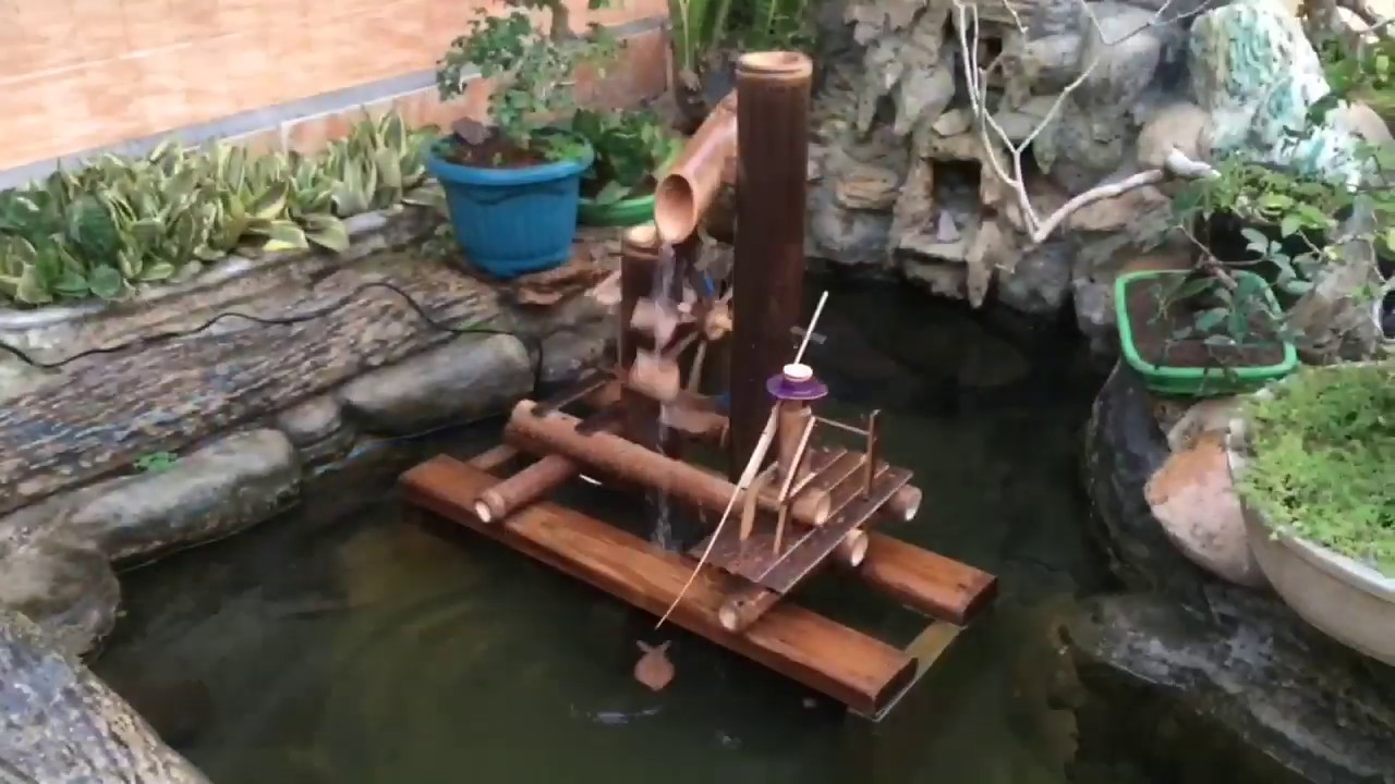 Cara Membuat Kincir Air Dari Bambu Sederhana Hiasan Taman Kolam Youtube